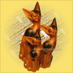 Cica Figura Trópusi Fából 20cm B