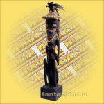 Maori-Asmat szobor ülő, 90 cm