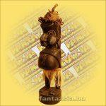 Maori-Asmat figura,álló sapkás 50cm