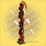 Maori-Asmat figura dupla,75cm.