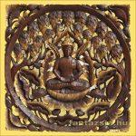 Buddha lótuszon a fügefa alatt Teakfa Kép
