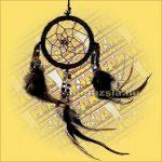 Álomfogó (Álomőrző,Álomcsapda) üveggyöngy dísszel, fekete 6cm