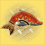 Hűtőmágnes-Delfin/Aboriginal Festéssel