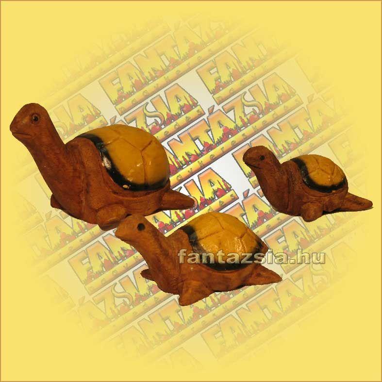 Teknős Szett Trópusi Fából 3db-os A