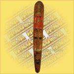 Maszk Mahagóni Fából (lomboki)Primitív motívummal