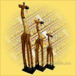 Zsiráf Trópusi Fából Díszített Világos Barna 100cm