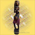 Maori-Asmat szobor,tállal a fején 100 cm