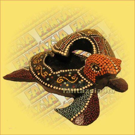 Hamutartó Teknős Figurával Aboriginal Festéssel 15cm