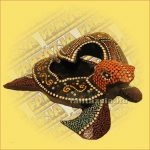 Hamutartó Teknős Figurával Aboriginal Festéssel 20cm