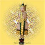 Buddha Szobor Álló Festett 100cm A