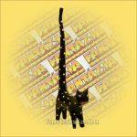Macska Gyűrűtartó-Hosszú Farkú Trópusi Fából 30cm C