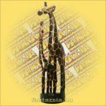 Zsiráf Gyermekével Trópusi Fából 60cm
