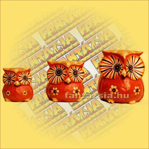 Bagoly Figura Szett ( 3db) Trópusi Fából Narancssárga