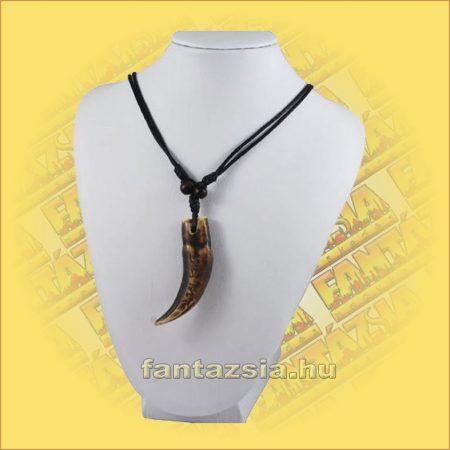Nyaklánc Állítható - Halcsont barna agyar medállal