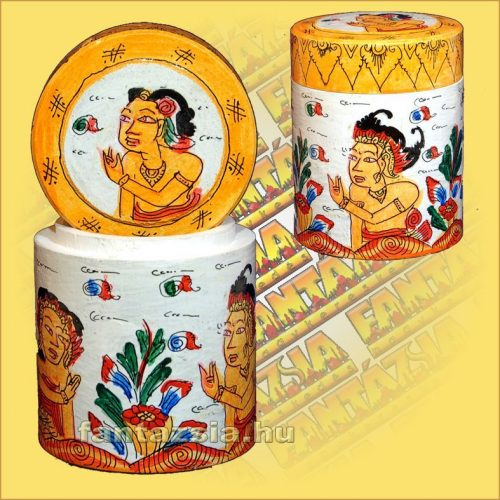 Tároló (Kézzel Festett) Wayang Motívumokkal/Henger alakú/Indonéz