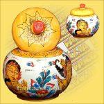 Tároló (Kézzel Festett) Wayang Motívumokkal/Gömb alakú/Indonéz