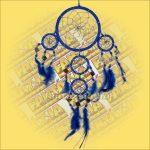 Álomfogó (Álomőrző,Álomcsapda) tükrös sötétkék 11cm