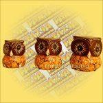 Bagoly Figura Szett ( 3db) Trópusi Fából Tojashéj Dísszel