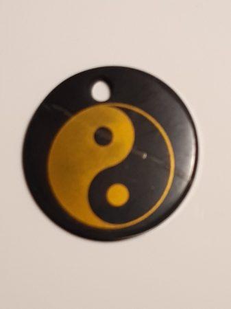 Shungit-Sungit medál-Yin yang festéssel