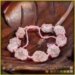 féldrágakő karkötő, csomózott - rózsakvarc