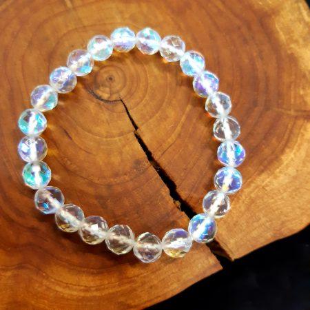 Fazettált Aura kvarc karkötő 8 mm