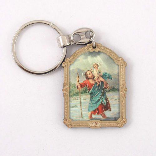 Szent Kristóf Faplakett Kulcstartó