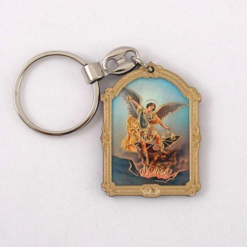 Szent Mihály Faplakett Kulcstartó