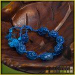 féldrágakő karkötő, csomózott - kék achát
