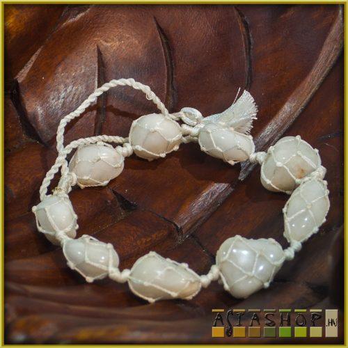 féldrágakő karkötő, csomózott - fehér achát