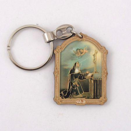 Szent Rita Faplakett Kulcstartó
