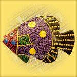 Hűtőmágnes-Trópusi Hal Q /Aboriginal Festéssel